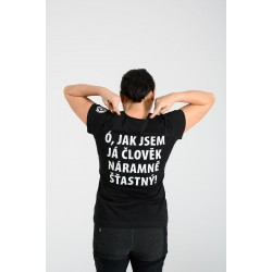 """dámske tričko Komédia česká o bohatci a Lazarovi – """"Ó JAK JSEM JÁ ČLOVĚK NÁRAMNĚ ŠŤASTNÝ"""""""